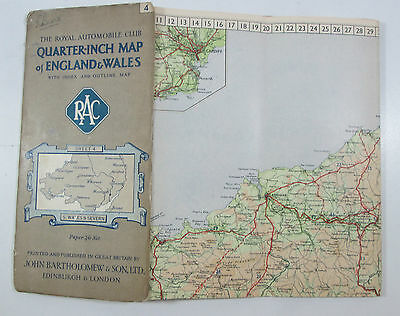 Approx 1928 old vintage RAC Bartholomew quarter inch map 4 S Wales & Severn