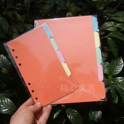 5Pcs A5/A6/A7 Index Multi-Coloured Tabs Divider Insert Refill NoteBook Organiser