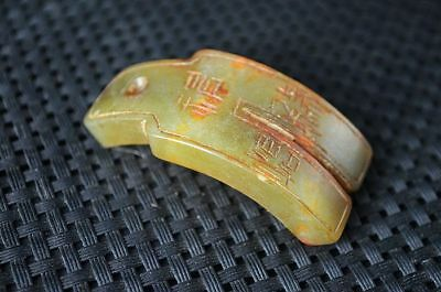 China Han dynasty Nephrite jade Hand carved ancient characters Pendant  Q26