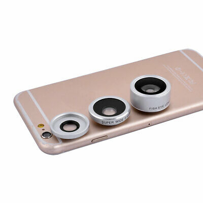 4 in 1 198 Degree Fisheye 0.4x Wide Angle Fill light Phone Lens Kits White