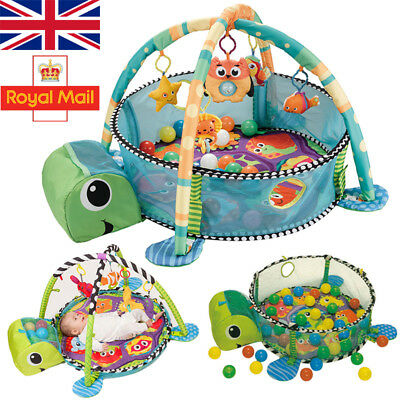 Turtle Baby Gym 3 in 1 Activity Play Floor Mat Ball Pit & Toys Babies Playmat UK