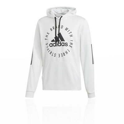 separation shoes 9b4d2 bbf65 adidas Mens Sport ID Pullover Hoodie White Sports Gym Hooded Pockets