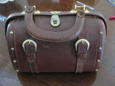 Vintage 1950s / 60s Tobacco Brown Leather Barrel Hand Bag Made in Hong Kong