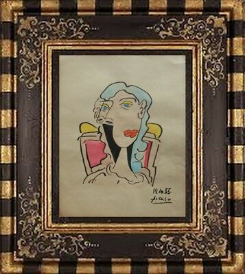 PABLO PICASSO DRAWING ON PAPER SIGNED -///-  watercolor -// NO PRINT -