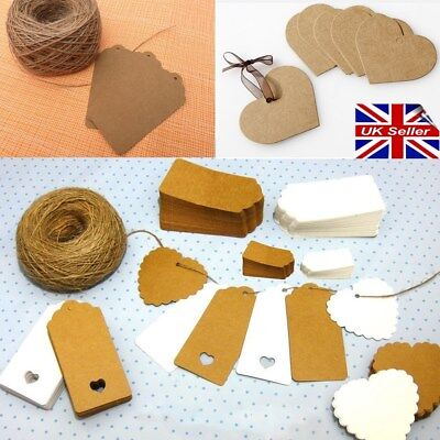 KRAFT Paper Gift TAGS Scallop Card Label | Free string | 10/100 Per Pack | Brown