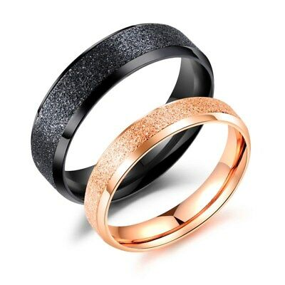 acf384cf11bc5 4MM/6MM Rose Gold/Black Frosted Band Men Women Gift Stainless Steel Couple  Rings