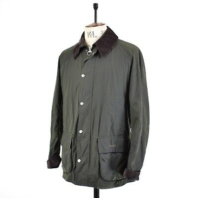 Men's Country Dark Green BARBOUR BARFIELD Waxed Cotton Jacket Anorak UK L
