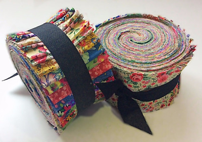 Vintage Floral Shabby chic light jelly roll cotton fabric quilt strips 2.5 inch