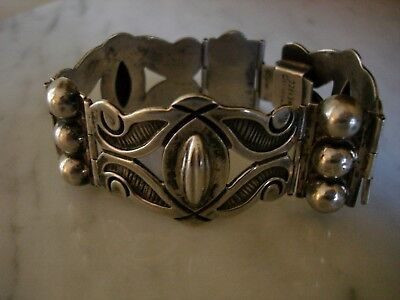 Antique Mexican Coffee Bean Foliage Sterling Silver Mexico Bracelet