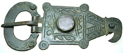 Large Roman Bronze Belt Buckle Eagle's Head with Stone