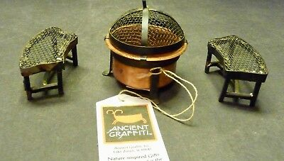 CLEARANCE 1/2 OFF *-Fairy Garden Miniature Fire Pit and 2 Miniature benches- New