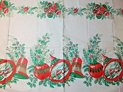 Vinyl Christmas TABLECLOTH Mid Century ATOMIC Shiny Brite SPUTNIK Ornaments Rect