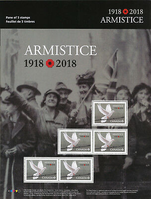 Canada 2018 MNH WWI WW1 First World War I Armistice 5v M/S Doves Military Stamps