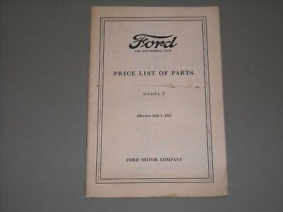 Vintage 1931 Model T Ford Price List of Parts Book / Manual for 1909-1927 models