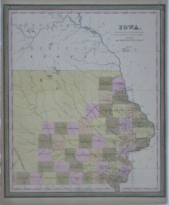 Original 1849 Mitchell County Map IOWA Pottawatomies Fort Atkinson Wagon Roads