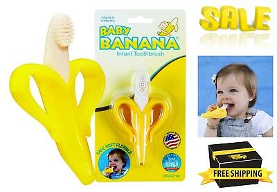 Baby Banana Infant Training Toothbrush Teether Thick bristles for Teething Gums