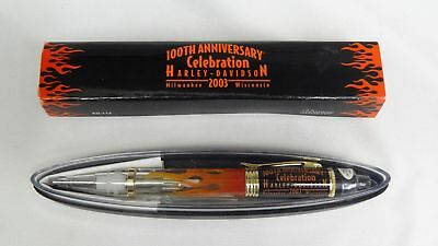 Harley Davidson Motorcycle 100th Anniversary Flame Lights Up Black Pen 2003 HD🎁