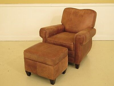 29773EC: Distressed Tan Leather Club Chair & Matching Ottoman