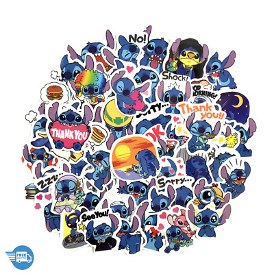 50Pcs Stitch Cartoon Cute Lovely Stickers For Laptop Luggage Free Shipping
