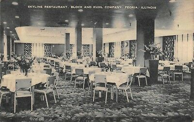 Block And Kuhl Co Skyline Restaurant Dining Room View Peoria,IL  1952 Postcard
