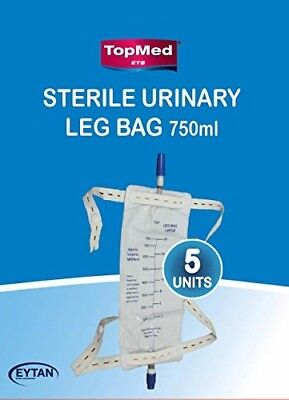 5 Male Urinal Bag Pee Bag Replacement Leg Bag for The Male Urinal 750 ML 5 Unit