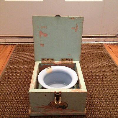 Vintage Childs Chamber Pot Potty Enamelware With Wood Storage Case Box