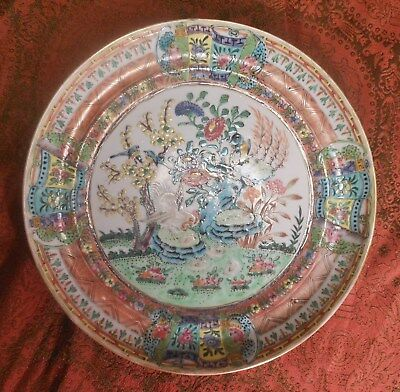 Great 19th Century Antique Chinese Porcelain Plate, Colorful Birds And Flowers