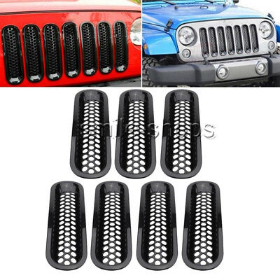 For 2007-2018 Jeep Wrangler JK Car Black ABS Front Insert Mesh Cover Grille Trim