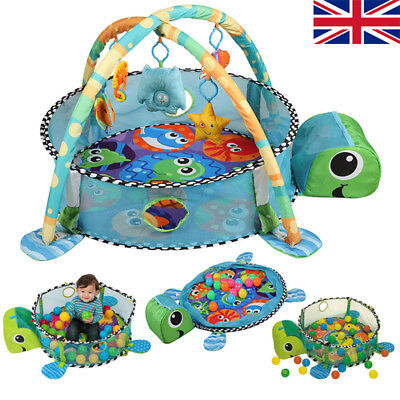 3 In 1 Turtle Baby Play Mat Lay & Play Fitness Gym Activity Mat Toys Large Soft