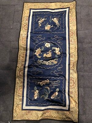 Vintage Chinese Dun Huang Beijing Silk Embroidery Panel Wall Hanging Pictures