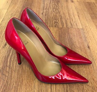 dc1aba09830 STUART WEITZMAN CANDY Apple Red Patent Leather High Heels/pumps 7