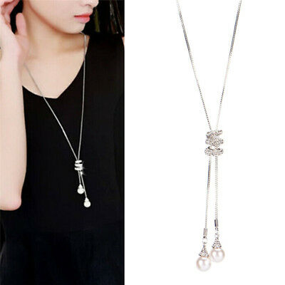 Long Pearl Rhinestone Pendant Sweater Chain Crystal Necklace Jewelry FashVN