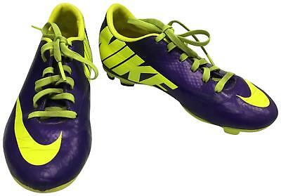 PRE-OWNED Boys Nike Green & Purple Football Boots Jnr Size 1 TH207