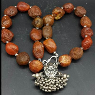 Ancient Agate stone Beautiful Silver beads Pendant Necklace   # 7O