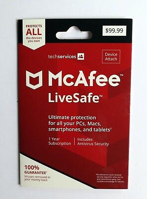 McAfee LiveSafe 2019 PC Mac Android iOS 1 Year UNLIMITED Devices
