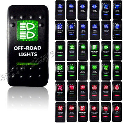 Green Lighted Off Road LED 12V 20A 10A 5-pin Rocker Toggle Switch Car Boat ATV