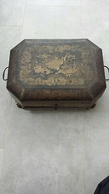 Large 19th-Century ANTIQUE Chinese Export Lacquered Wood Caddy Chest/Box/Tea box
