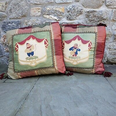 Pair of Large High End Decorative Handpainted Signed Pillows w/ Monkey Designs