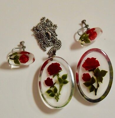 Vintage 4 Pc Set Reverse Carved  Lucite Red Roses Brooch, Necklace, Earrings