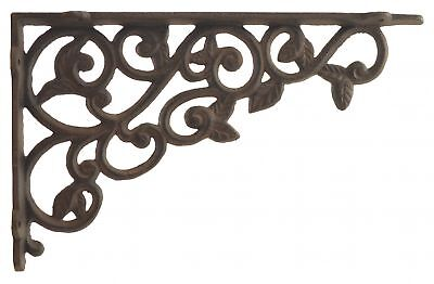 Cast Iron Wall Shelf Bracket Brace Ornate Leaves Brackets DIY Rust Brown 12""