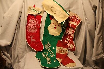 Set of 4 Vintage Christmas Red & Green Felt Santa Claus Stockings Decoration