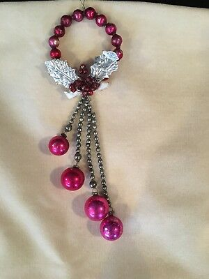 Vintage Christmas Mercury Bead Wreath Red Pink