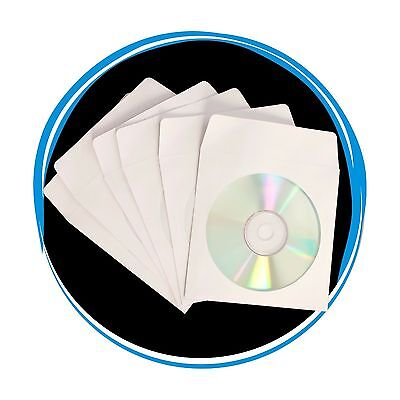 300 80g CD DVD R Disc Paper Sleeve Envelope Clear Window Flap - White