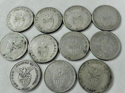 (11) One Peso Phillipines - 1903, 1907, 1908, & 1909 -  Some Rare Dates - Nr !