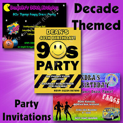 Personalised DECADE THEMED Birthday Hen Party Invitations 50s 60s 70s 80s 90s