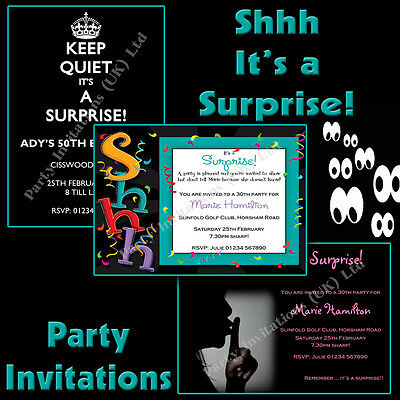 SHHH IT S A Surprise White Stickers For Party Invitation Envelopes