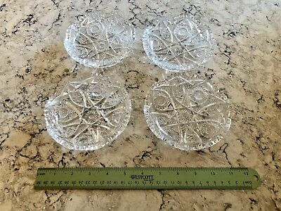 "Set 4 Antique Estate 5"" across Crystal Bowls Mint Condition Over 70 years old"