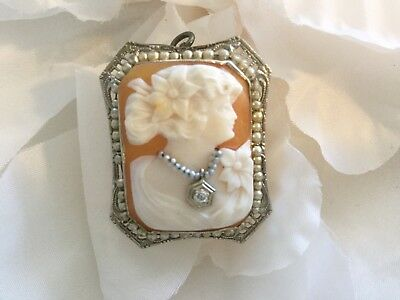 Antique vtg art nouveau14k brooch/pendant shell cameo w dia, real & faux pearls