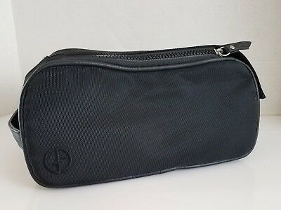 GIORGIO ARMANI Zip Case Black Travel Cosmetic Toiletry Bag Clutch Makeup  Small 578d502c72561
