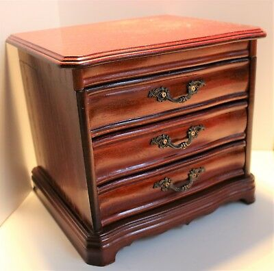 Vintage Large Wooden Jewellery Box With Drawers / Antique Style Chest